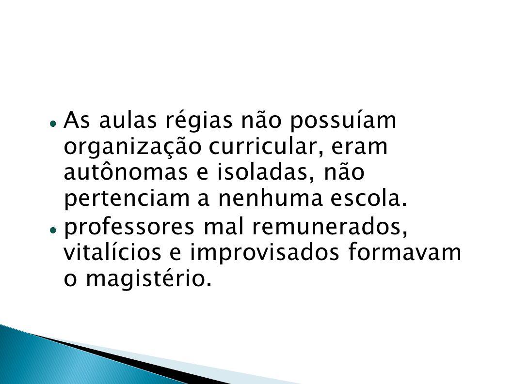 chegada da Família Real (1808); Abertura dos portos; Instalação da imprensa, museu, biblioteca e academias; No Rio de Janeiro: criação da academia Militar da Marinha (1808); Cursos de Anatomia e Cirurgia (1808);