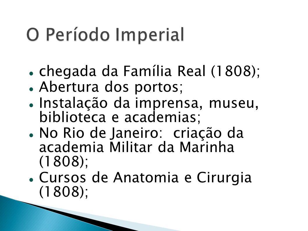 chegada da Família Real (1808); Abertura dos portos; Instalação da imprensa, museu, biblioteca e academias; No Rio de Janeiro: criação da academia Mil