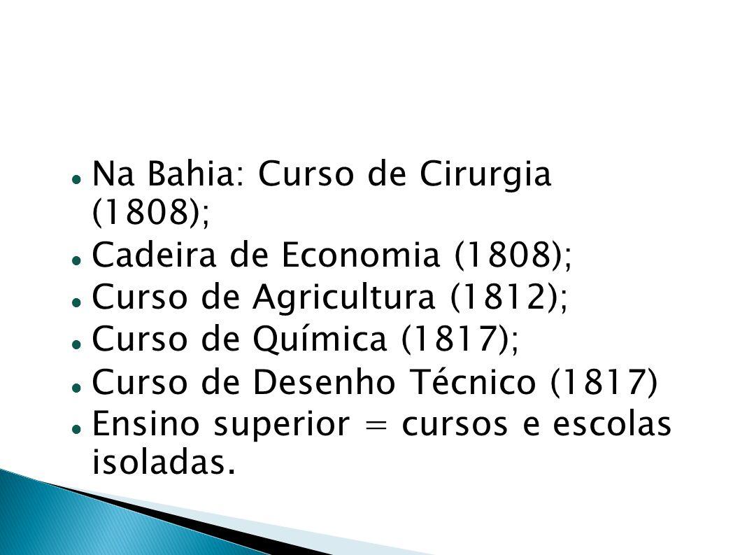 Na Bahia: Curso de Cirurgia (1808); Cadeira de Economia (1808); Curso de Agricultura (1812); Curso de Química (1817); Curso de Desenho Técnico (1817)
