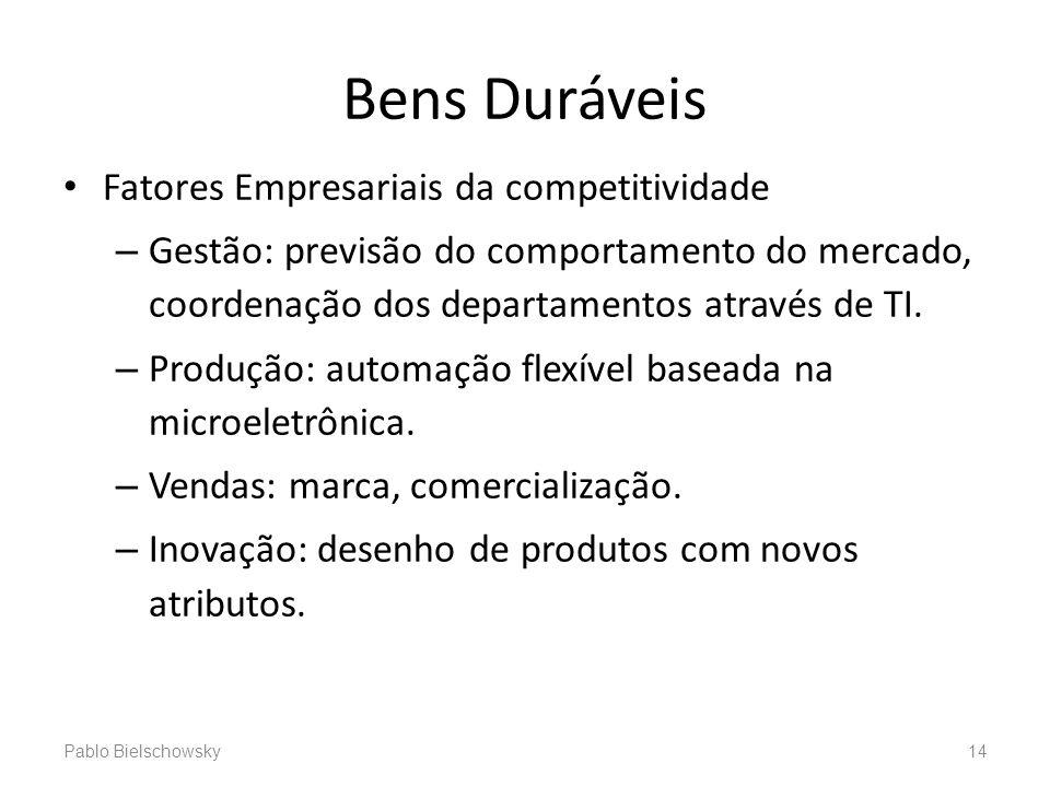 Bens Duráveis Fatores Empresariais da competitividade – Gestão: previsão do comportamento do mercado, coordenação dos departamentos através de TI. – P
