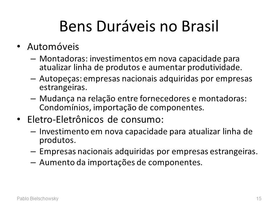 Bens Duráveis no Brasil Automóveis – Montadoras: investimentos em nova capacidade para atualizar linha de produtos e aumentar produtividade. – Autopeç