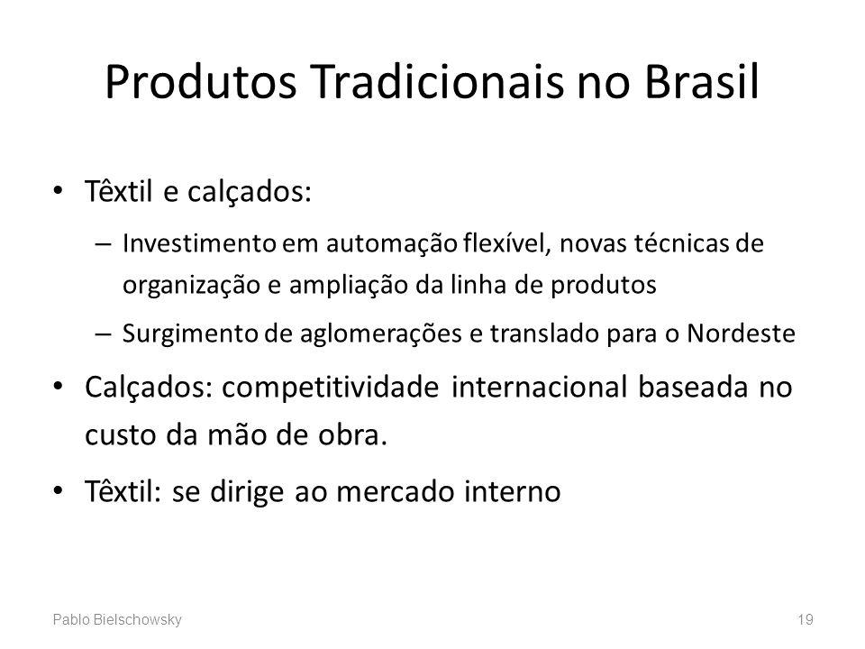 Produtos Tradicionais no Brasil Têxtil e calçados: – Investimento em automação flexível, novas técnicas de organização e ampliação da linha de produto