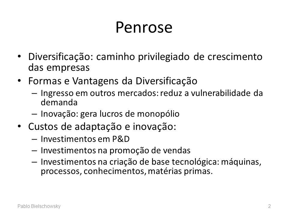 Penrose Diversificação: caminho privilegiado de crescimento das empresas Formas e Vantagens da Diversificação – Ingresso em outros mercados: reduz a v