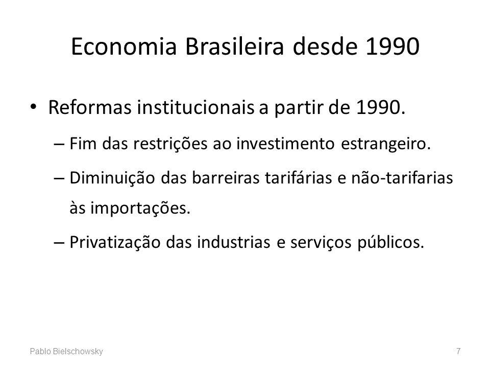 Economia Brasileira desde 1990 Reformas institucionais a partir de 1990. – Fim das restrições ao investimento estrangeiro. – Diminuição das barreiras