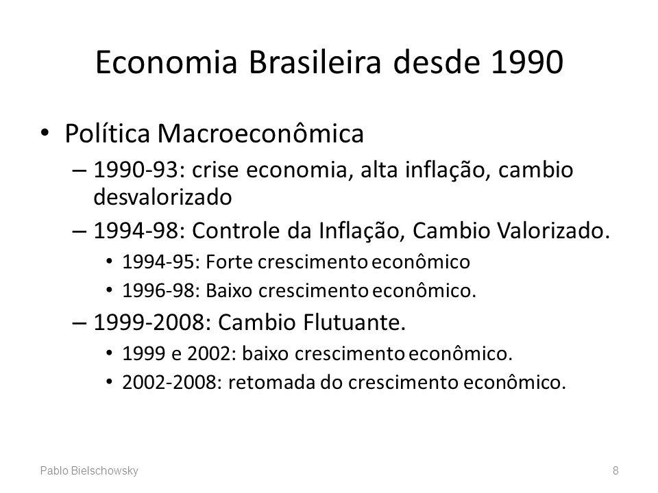 Economia Brasileira desde 1990 Política Macroeconômica – 1990-93: crise economia, alta inflação, cambio desvalorizado – 1994-98: Controle da Inflação,