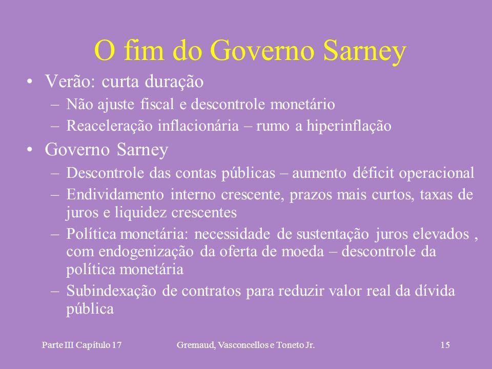 Parte III Capítulo 17Gremaud, Vasconcellos e Toneto Jr.15 O fim do Governo Sarney Verão: curta duração –Não ajuste fiscal e descontrole monetário –Rea