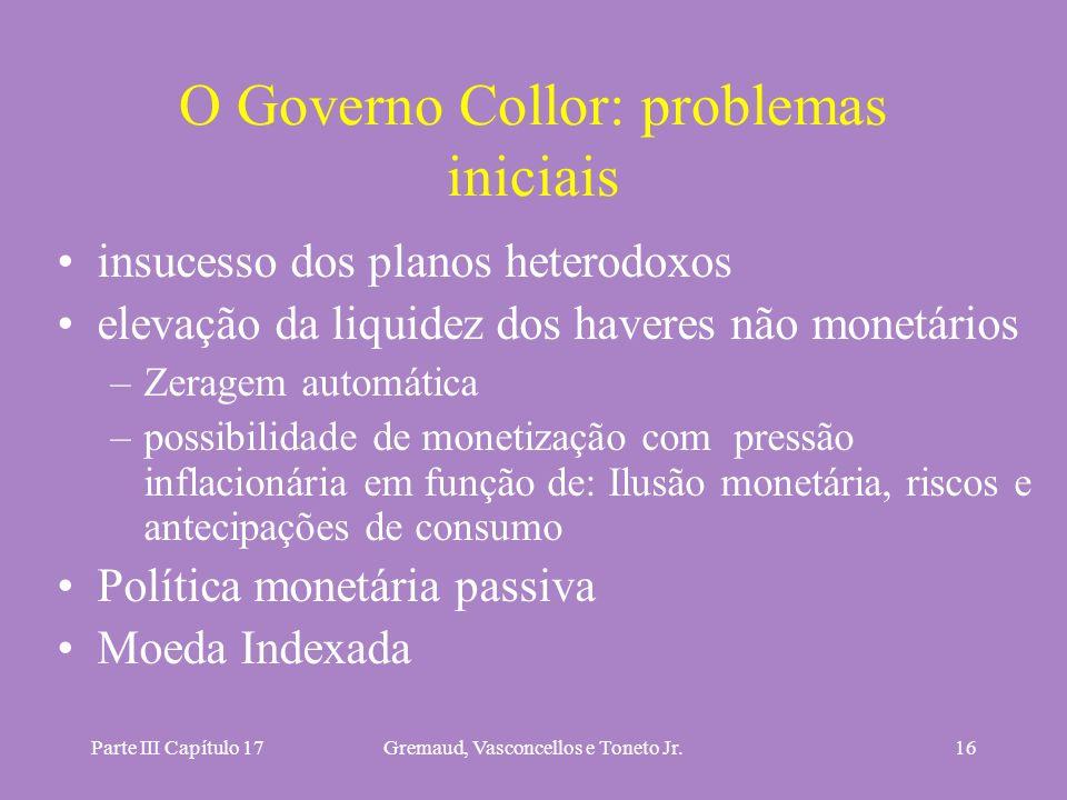 Parte III Capítulo 17Gremaud, Vasconcellos e Toneto Jr.16 O Governo Collor: problemas iniciais insucesso dos planos heterodoxos elevação da liquidez d