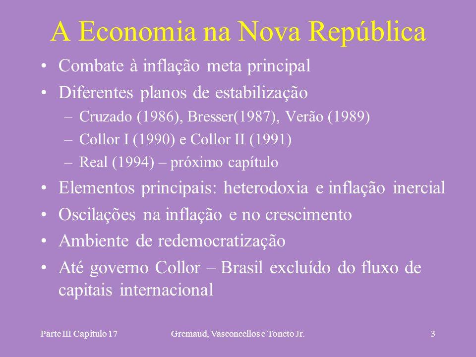 Parte III Capítulo 17Gremaud, Vasconcellos e Toneto Jr.3 A Economia na Nova República Combate à inflação meta principal Diferentes planos de estabiliz