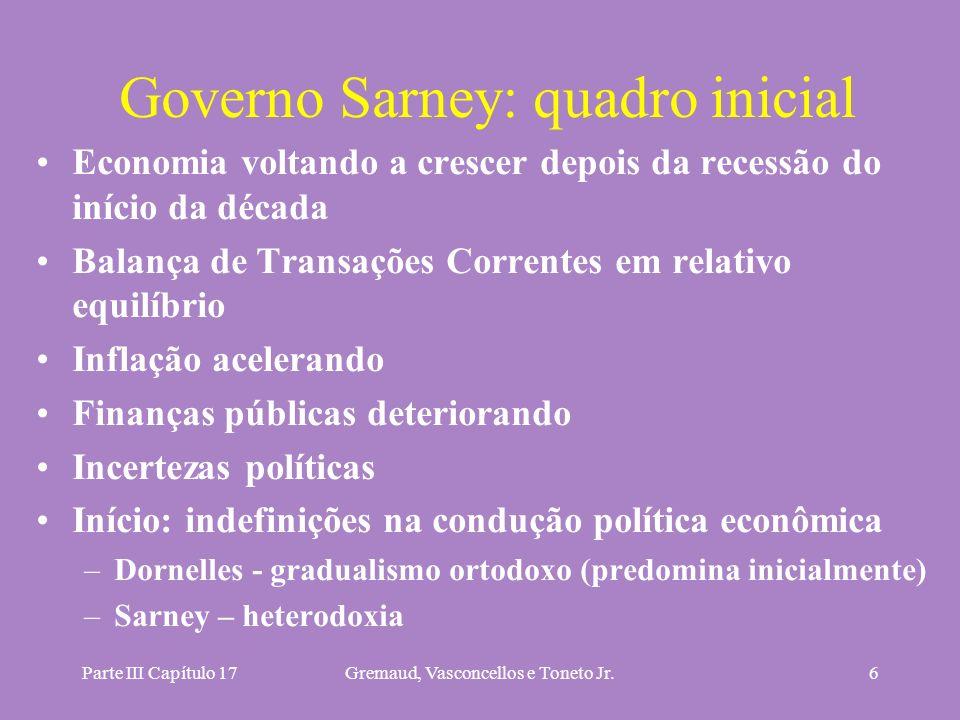 Parte III Capítulo 17Gremaud, Vasconcellos e Toneto Jr.6 Governo Sarney: quadro inicial Economia voltando a crescer depois da recessão do início da dé