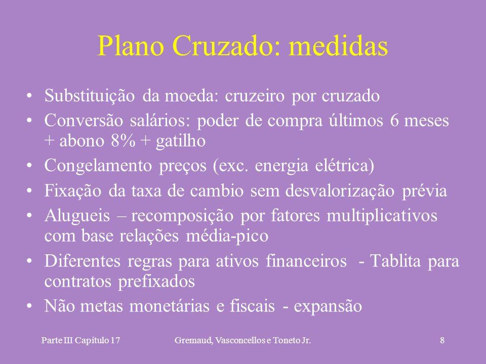Parte III Capítulo 17Gremaud, Vasconcellos e Toneto Jr.8 Plano Cruzado: medidas Substituição da moeda: cruzeiro por cruzado Conversão salários: poder