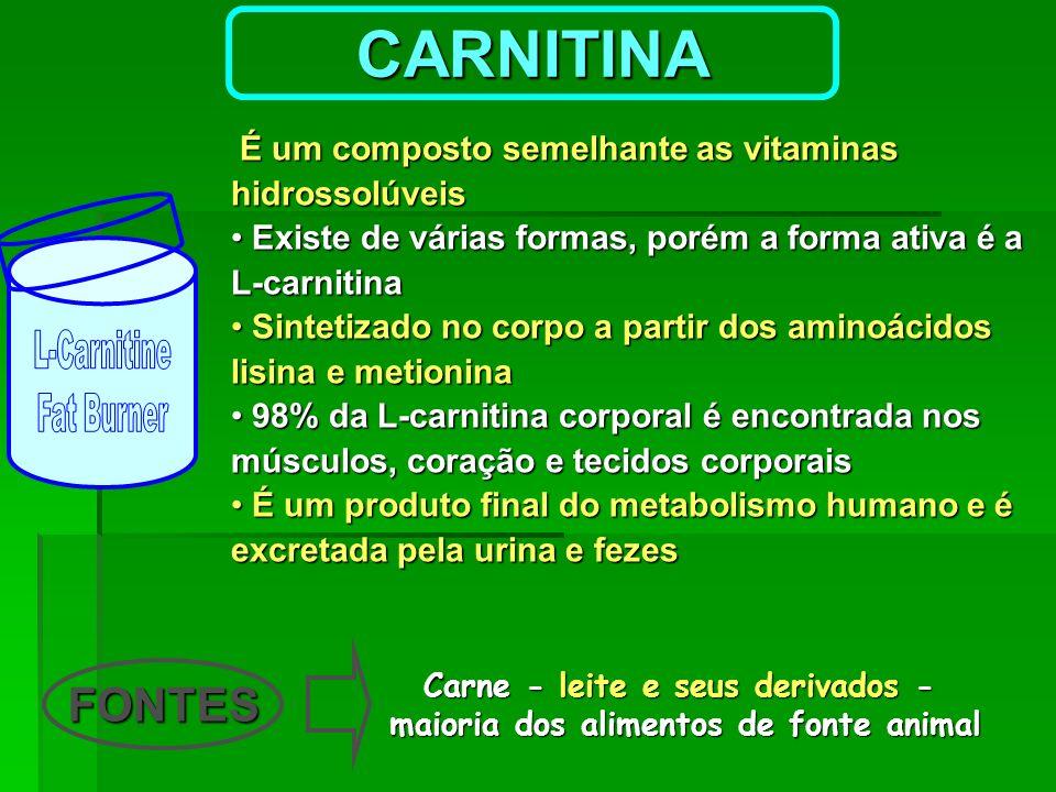 É um composto semelhante as vitaminas hidrossolúveis É um composto semelhante as vitaminas hidrossolúveis Existe de várias formas, porém a forma ativa