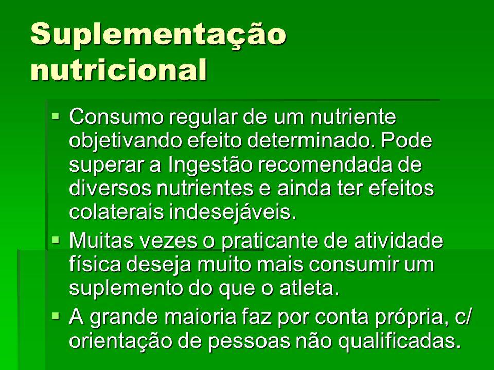 Suplementação nutricional Consumo regular de um nutriente objetivando efeito determinado. Pode superar a Ingestão recomendada de diversos nutrientes e
