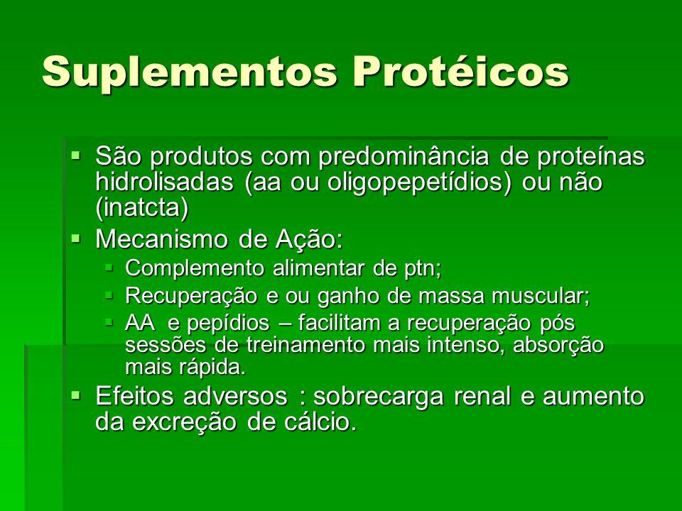 Suplementos Protéicos São produtos com predominância de proteínas hidrolisadas (aa ou oligopepetídios) ou não (inatcta) São produtos com predominância