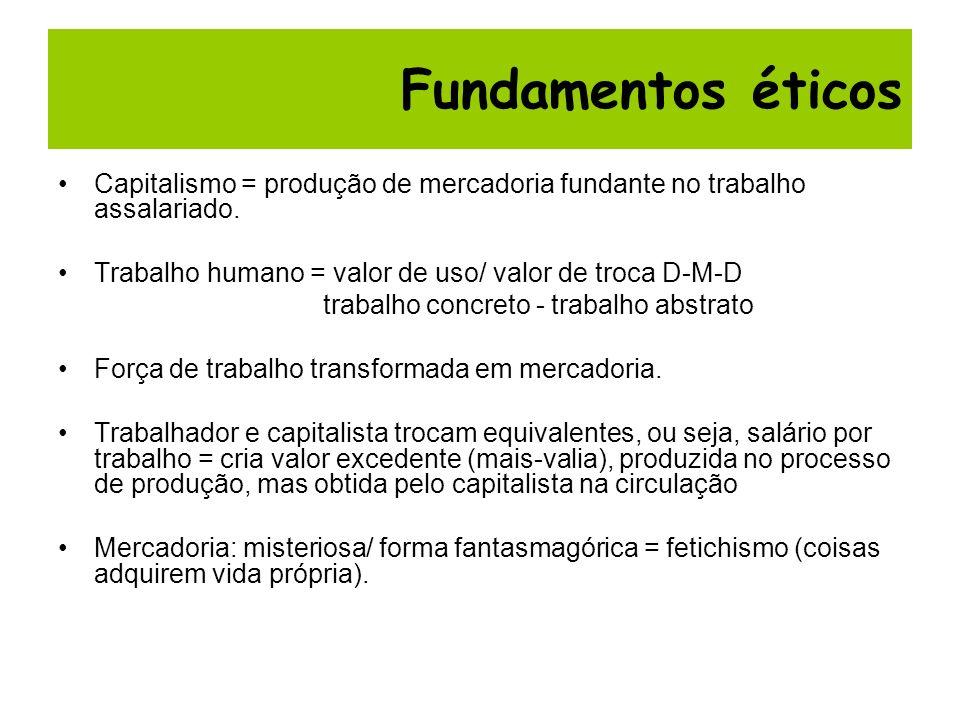 Capitalismo = produção de mercadoria fundante no trabalho assalariado. Trabalho humano = valor de uso/ valor de troca D-M-D trabalho concreto - trabal