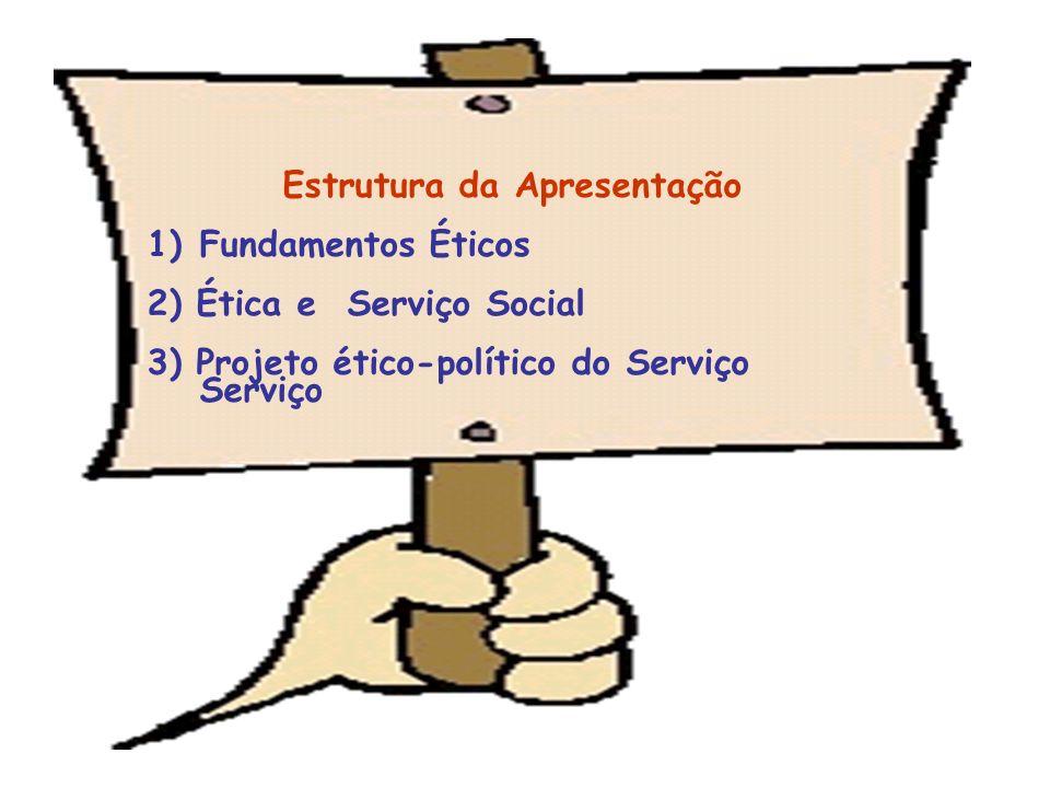 Estrutura da Apresentação 1)Fundamentos Éticos 2) Ética e Serviço Social 3) Projeto ético-político do Serviço Serviço
