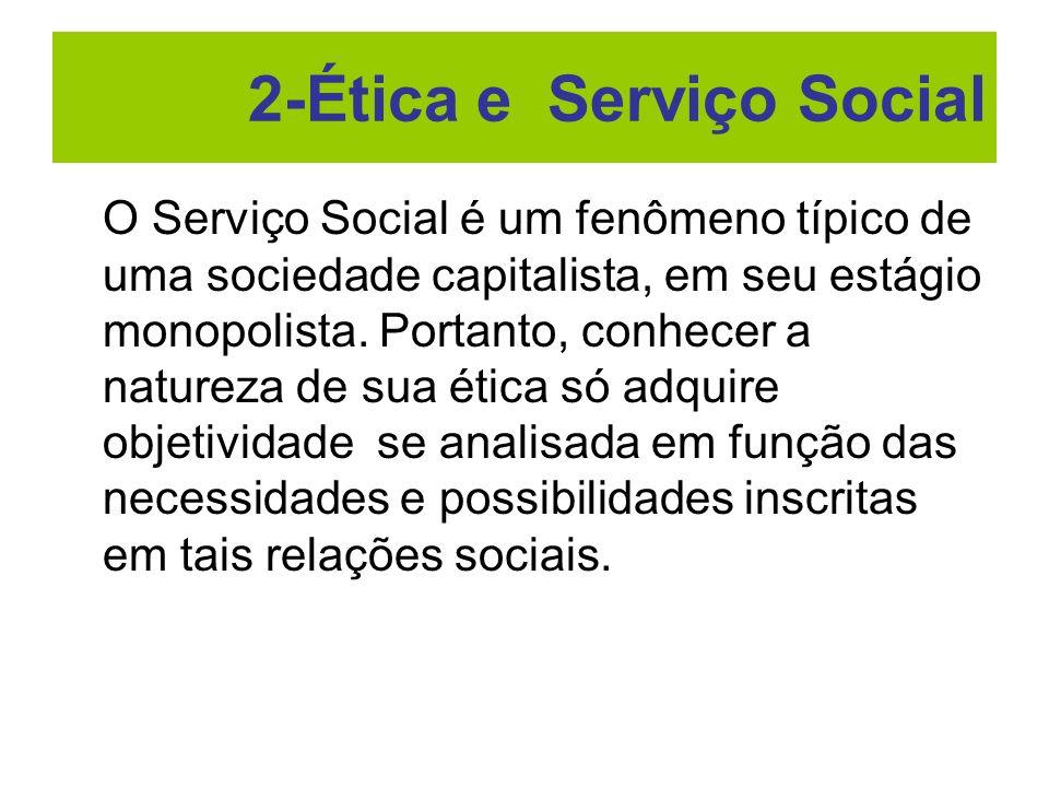 O Serviço Social é um fenômeno típico de uma sociedade capitalista, em seu estágio monopolista. Portanto, conhecer a natureza de sua ética só adquire