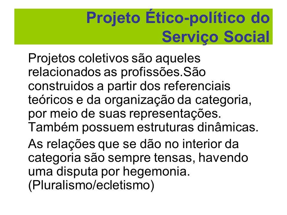 Projetos coletivos são aqueles relacionados as profissões.São construidos a partir dos referenciais teóricos e da organização da categoria, por meio d