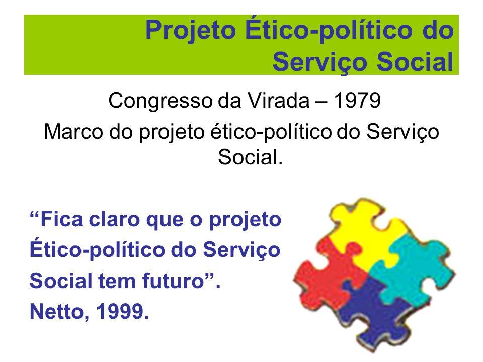 Congresso da Virada – 1979 Marco do projeto ético-político do Serviço Social. Fica claro que o projeto Ético-político do Serviço Social tem futuro. Ne