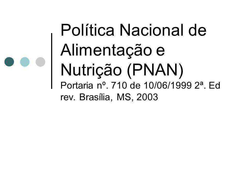 Política Nacional de Alimentação e Nutrição (PNAN) Portaria nº. 710 de 10/06/1999 2ª. Ed rev. Brasília, MS, 2003