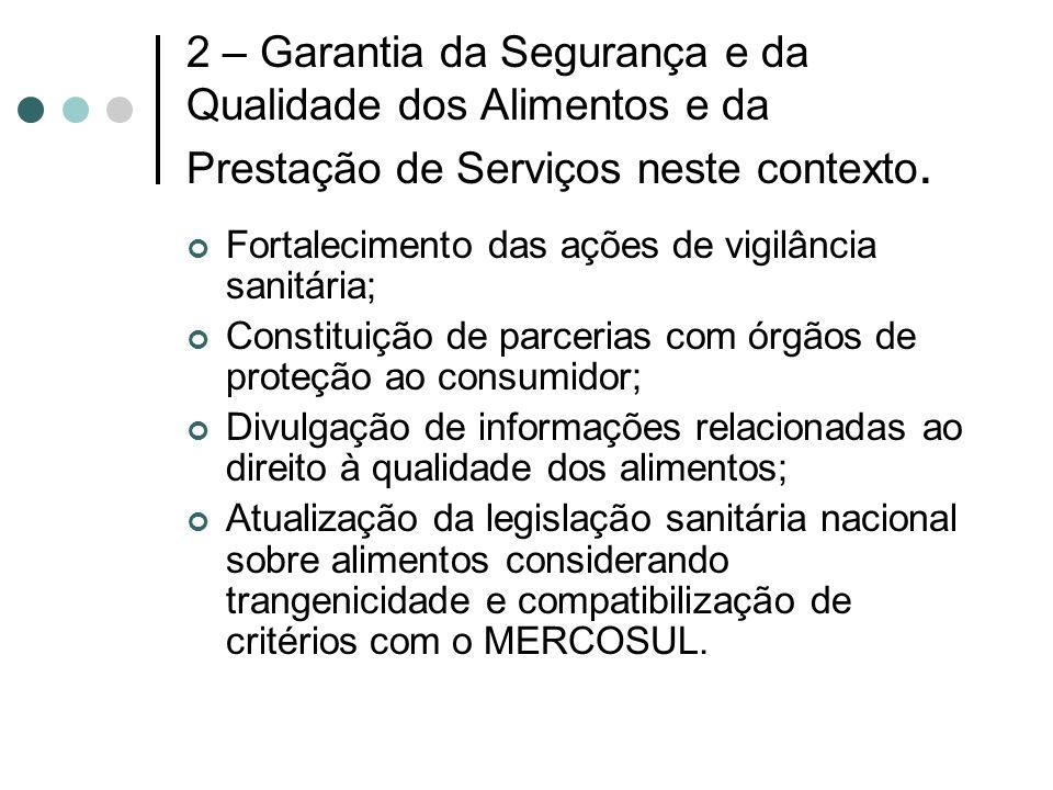 2 – Garantia da Segurança e da Qualidade dos Alimentos e da Prestação de Serviços neste contexto. Fortalecimento das ações de vigilância sanitária; Co