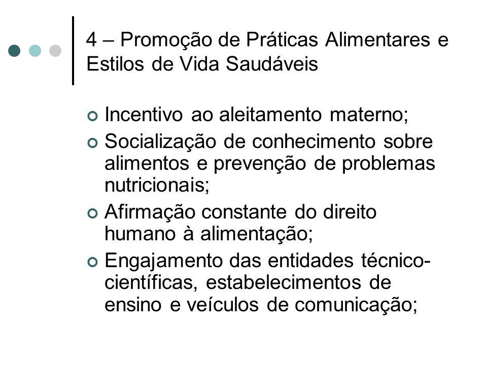 4 – Promoção de Práticas Alimentares e Estilos de Vida Saudáveis Incentivo ao aleitamento materno; Socialização de conhecimento sobre alimentos e prev