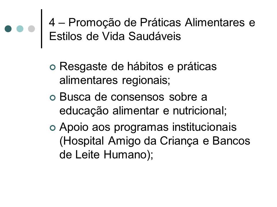 4 – Promoção de Práticas Alimentares e Estilos de Vida Saudáveis Resgaste de hábitos e práticas alimentares regionais; Busca de consensos sobre a educ
