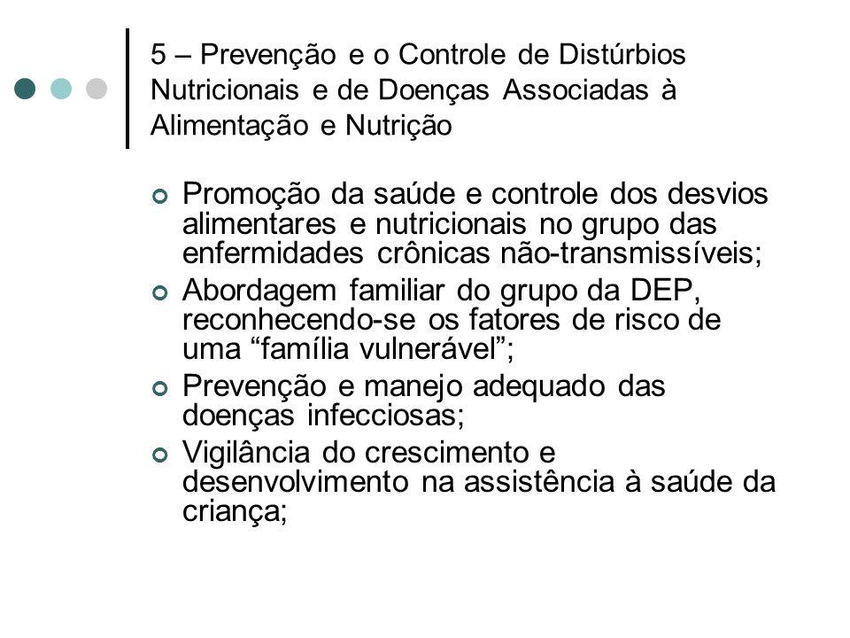 5 – Prevenção e o Controle de Distúrbios Nutricionais e de Doenças Associadas à Alimentação e Nutrição Promoção da saúde e controle dos desvios alimen