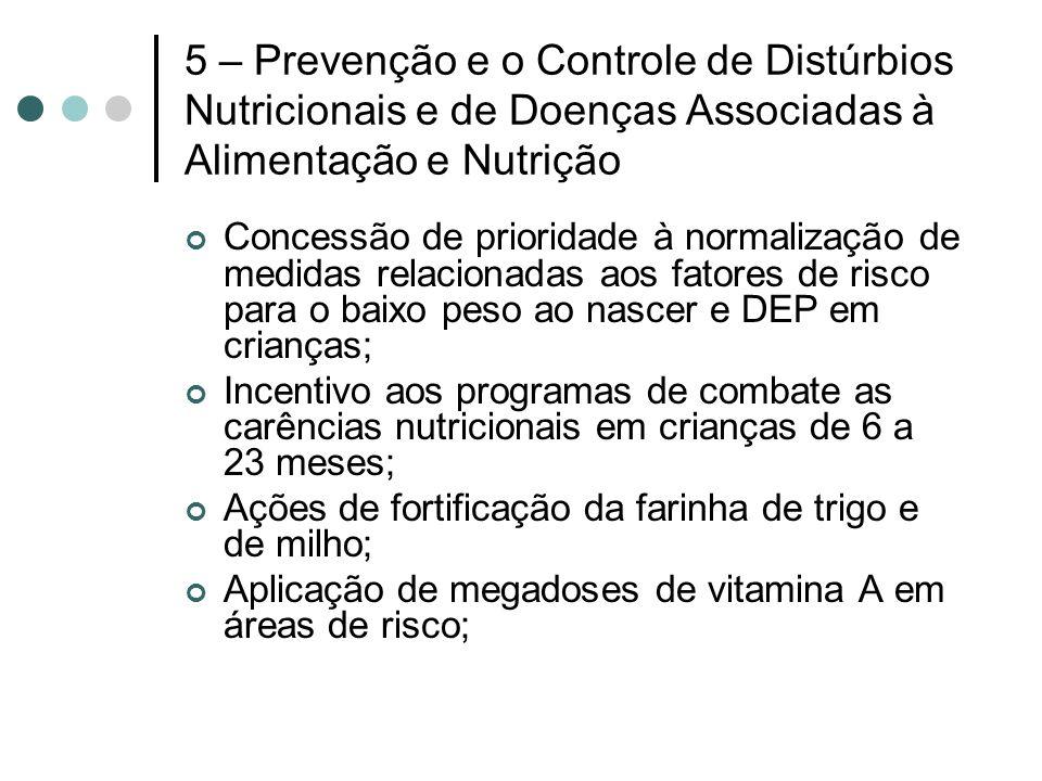 5 – Prevenção e o Controle de Distúrbios Nutricionais e de Doenças Associadas à Alimentação e Nutrição Concessão de prioridade à normalização de medid