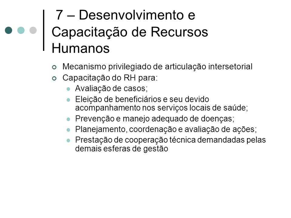 7 – Desenvolvimento e Capacitação de Recursos Humanos Mecanismo privilegiado de articulação intersetorial Capacitação do RH para: Avaliação de casos;
