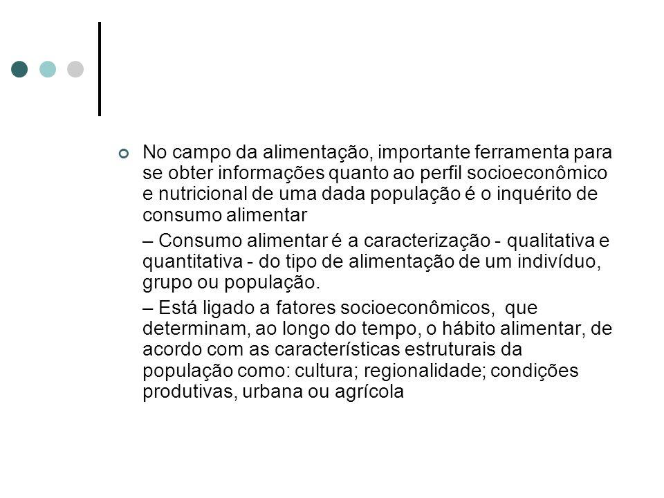 No campo da alimentação, importante ferramenta para se obter informações quanto ao perfil socioeconômico e nutricional de uma dada população é o inqué