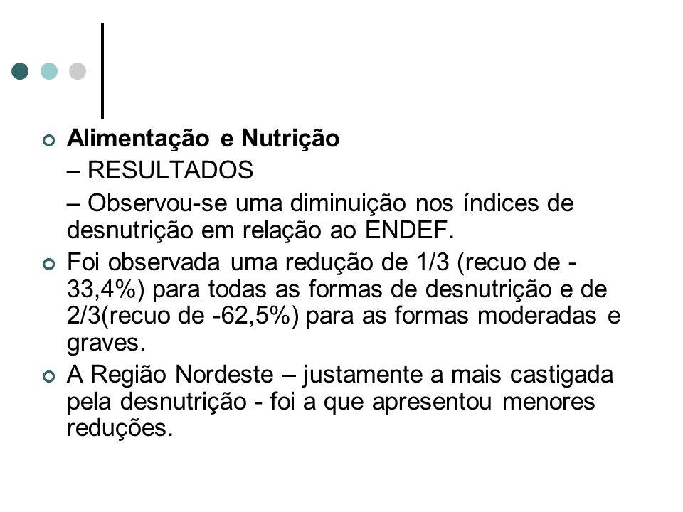 Alimentação e Nutrição – RESULTADOS – Observou-se uma diminuição nos índices de desnutrição em relação ao ENDEF. Foi observada uma redução de 1/3 (rec
