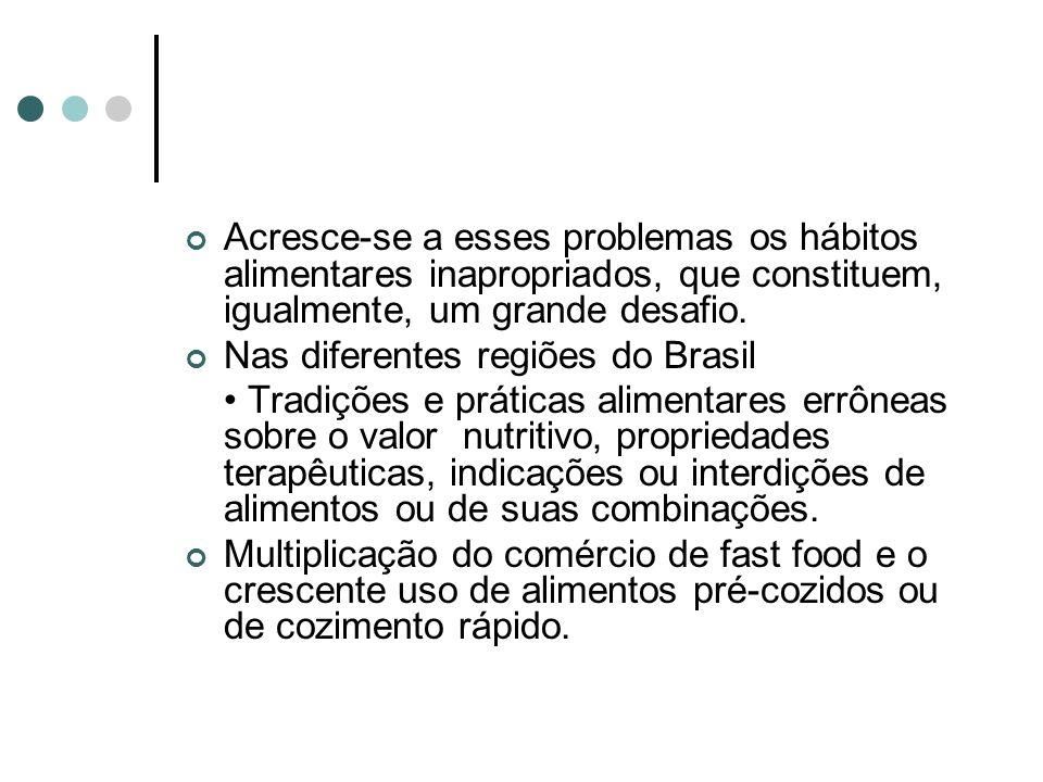 Acresce-se a esses problemas os hábitos alimentares inapropriados, que constituem, igualmente, um grande desafio. Nas diferentes regiões do Brasil Tra