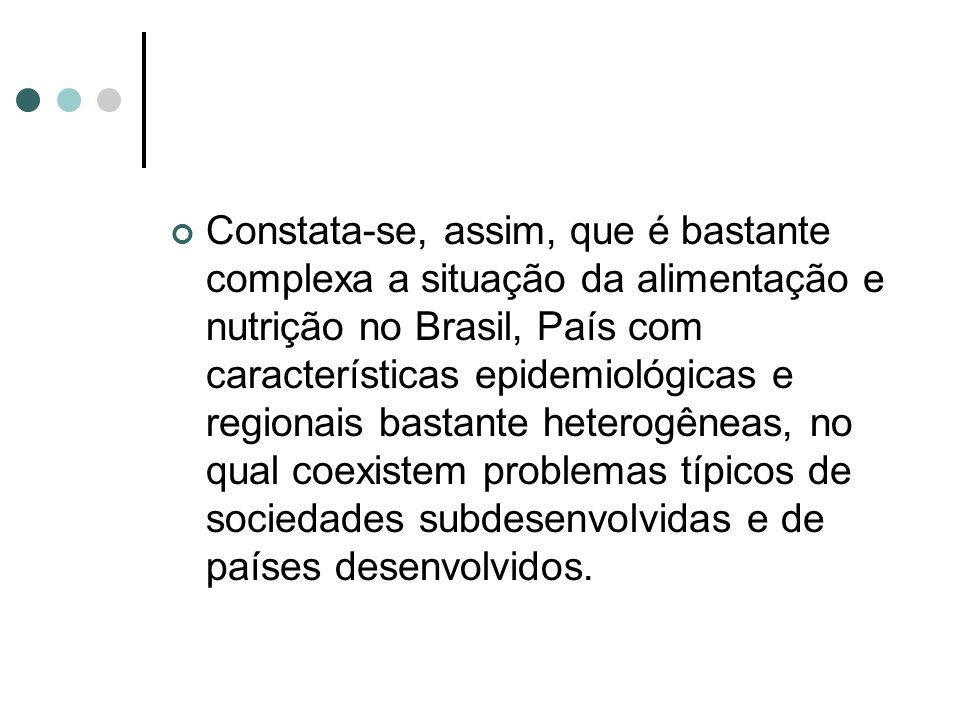 Constata-se, assim, que é bastante complexa a situação da alimentação e nutrição no Brasil, País com características epidemiológicas e regionais basta