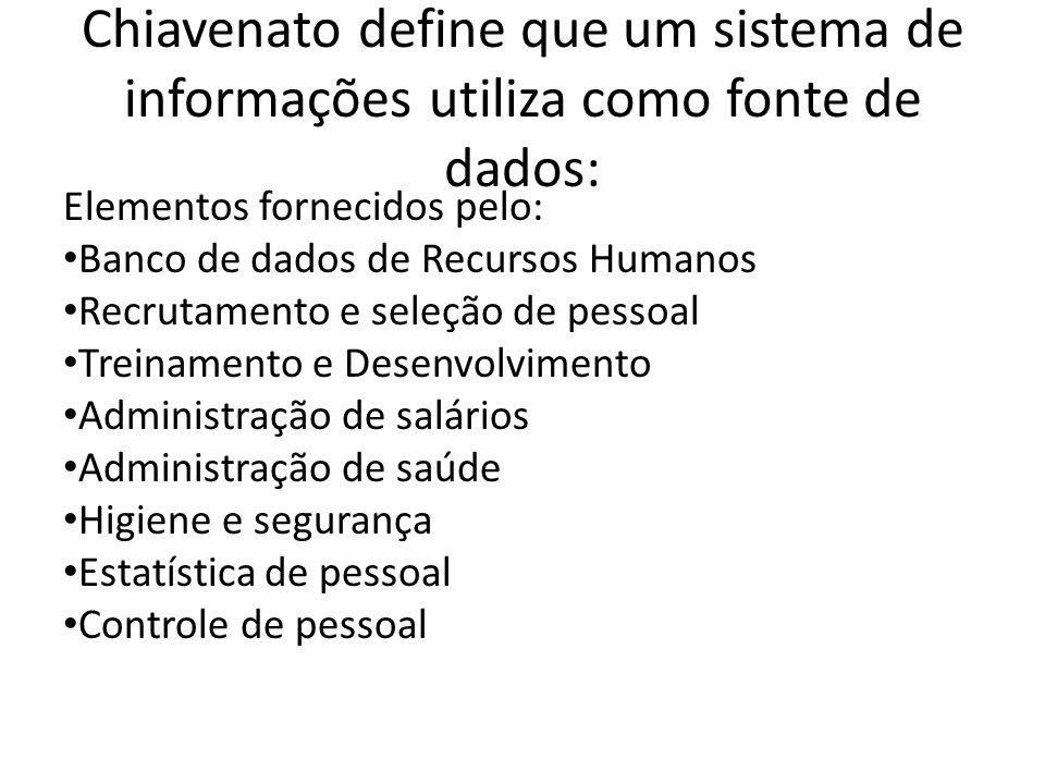 Chiavenato define que um sistema de informações utiliza como fonte de dados: Elementos fornecidos pelo: Banco de dados de Recursos Humanos Recrutament