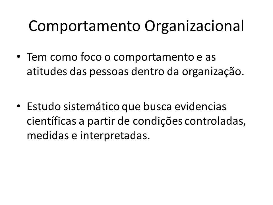 Comportamento Organizacional Tem como foco o comportamento e as atitudes das pessoas dentro da organização. Estudo sistemático que busca evidencias ci