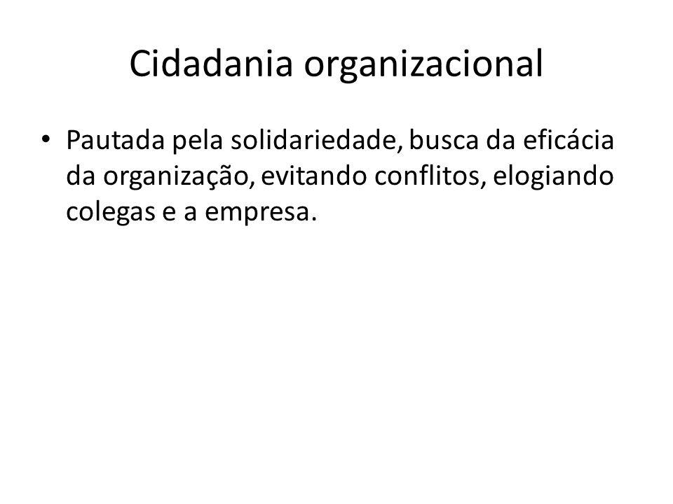 Cidadania organizacional Pautada pela solidariedade, busca da eficácia da organização, evitando conflitos, elogiando colegas e a empresa.
