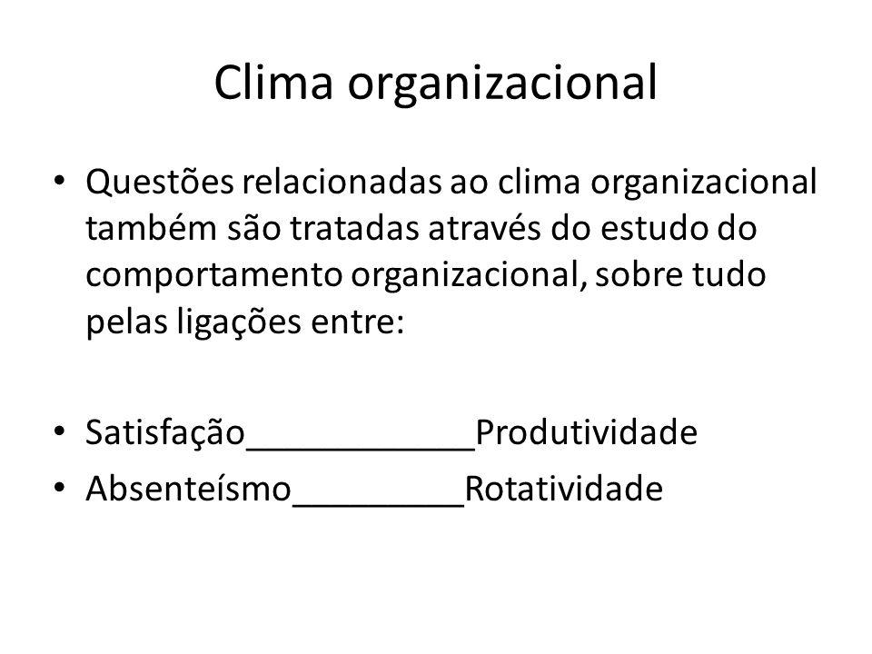 Clima organizacional Questões relacionadas ao clima organizacional também são tratadas através do estudo do comportamento organizacional, sobre tudo p