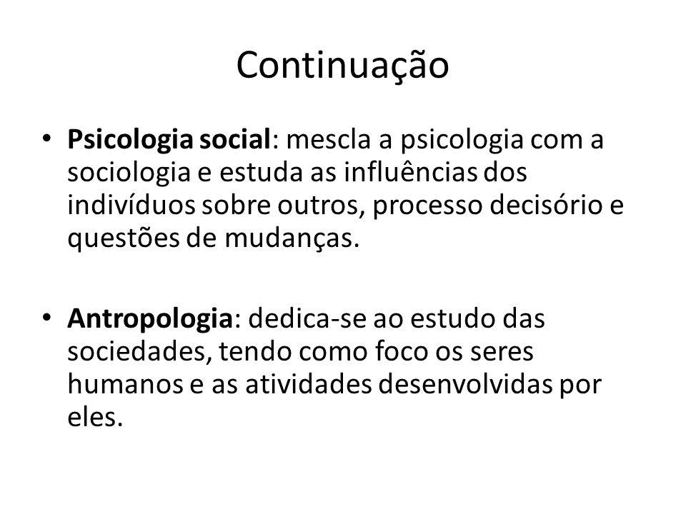 Continuação Psicologia social: mescla a psicologia com a sociologia e estuda as influências dos indivíduos sobre outros, processo decisório e questões