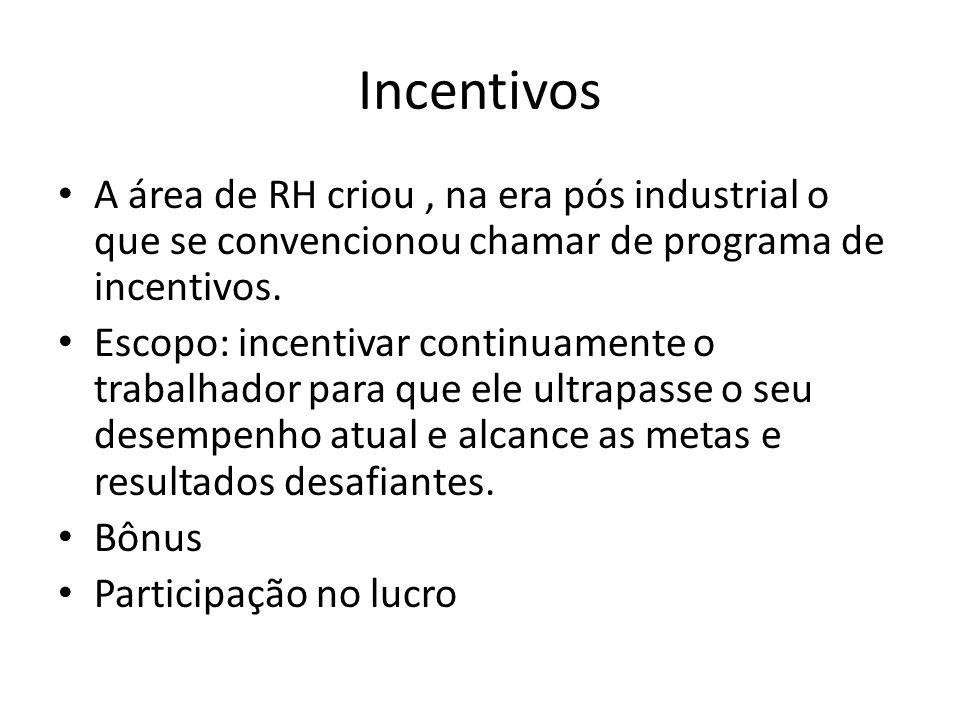 Incentivos A área de RH criou, na era pós industrial o que se convencionou chamar de programa de incentivos. Escopo: incentivar continuamente o trabal