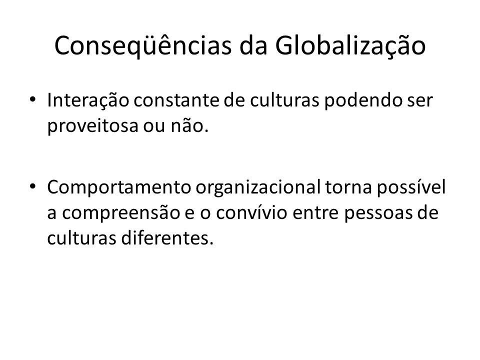 Conseqüências da Globalização Interação constante de culturas podendo ser proveitosa ou não. Comportamento organizacional torna possível a compreensão