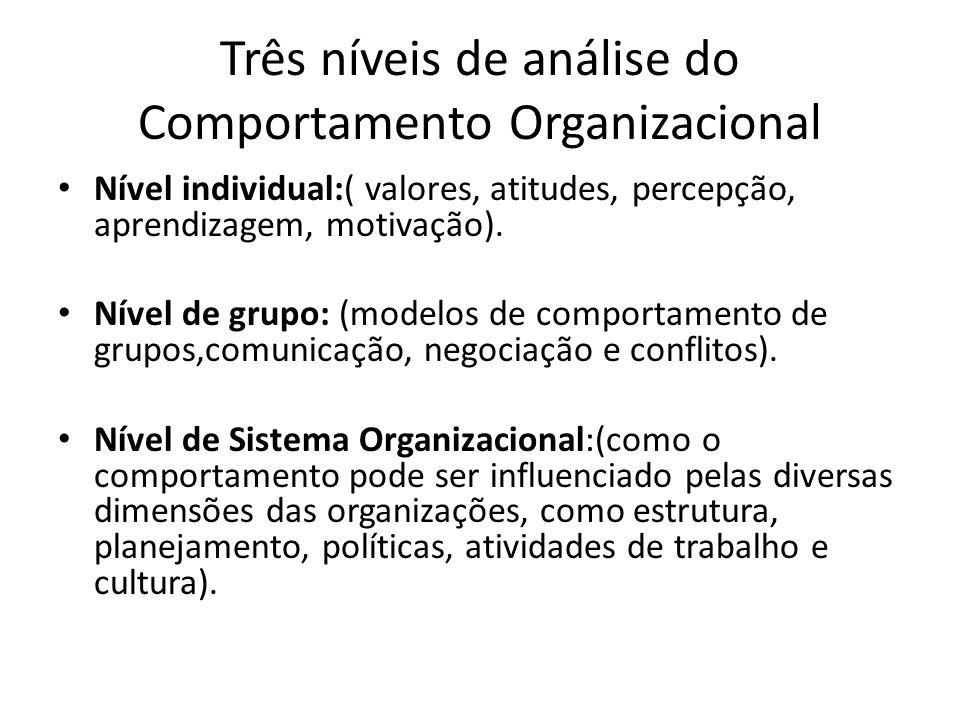 Três níveis de análise do Comportamento Organizacional Nível individual:( valores, atitudes, percepção, aprendizagem, motivação). Nível de grupo: (mod