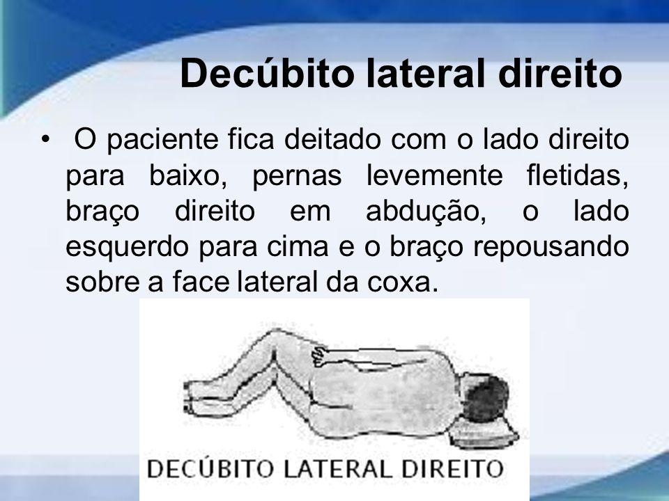 Decúbito lateral direito O paciente fica deitado com o lado direito para baixo, pernas levemente fletidas, braço direito em abdução, o lado esquerdo para cima e o braço repousando sobre a face lateral da coxa.