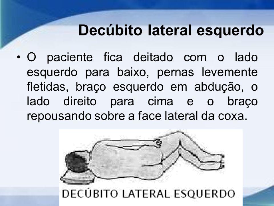 Decúbito lateral esquerdo O paciente fica deitado com o lado esquerdo para baixo, pernas levemente fletidas, braço esquerdo em abdução, o lado direito para cima e o braço repousando sobre a face lateral da coxa.