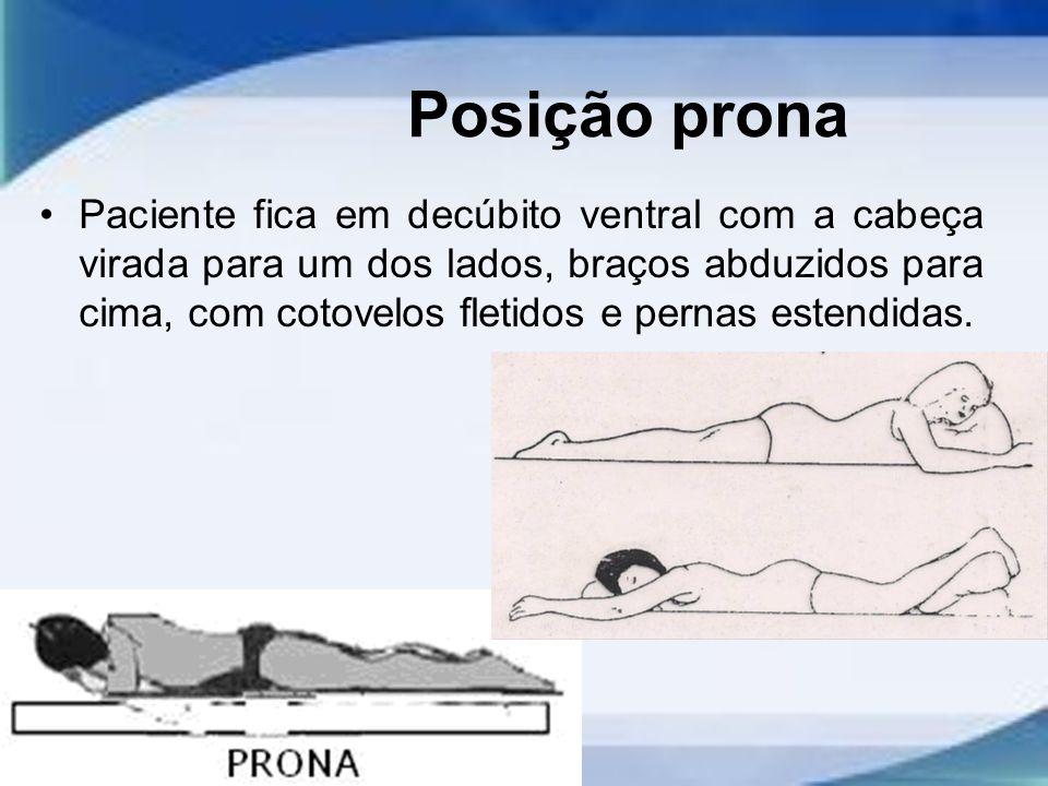 Posição prona Paciente fica em decúbito ventral com a cabeça virada para um dos lados, braços abduzidos para cima, com cotovelos fletidos e pernas estendidas.