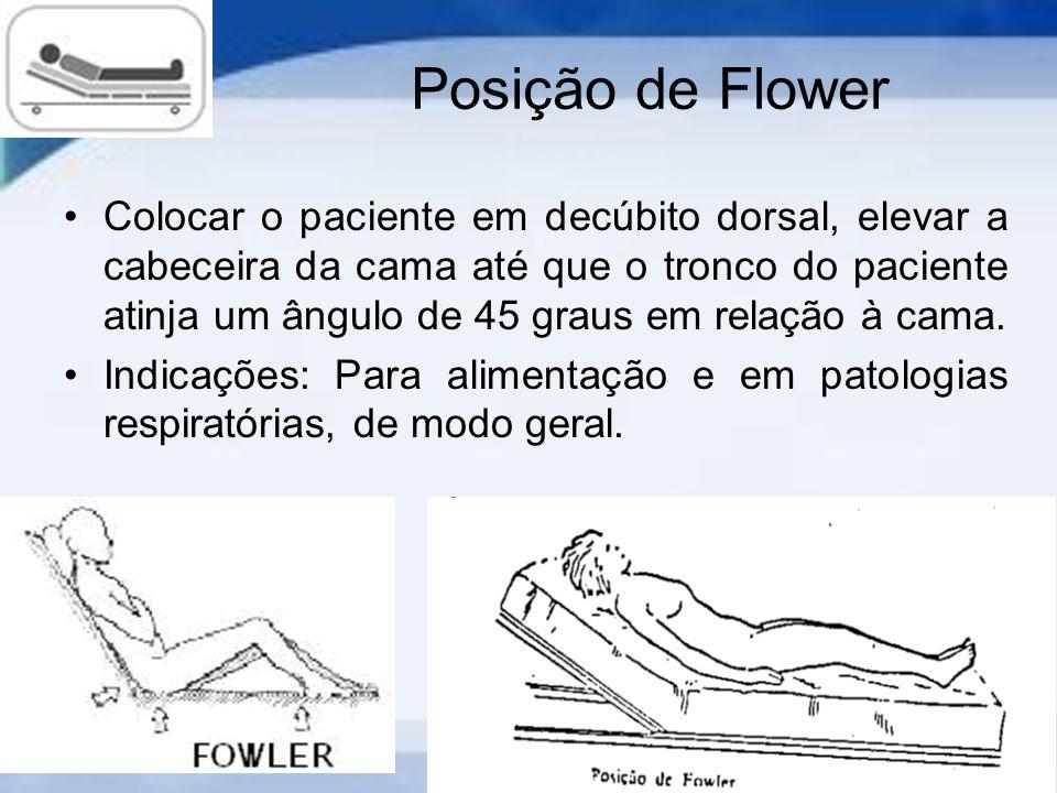 Posição de Flower Colocar o paciente em decúbito dorsal, elevar a cabeceira da cama até que o tronco do paciente atinja um ângulo de 45 graus em relação à cama.