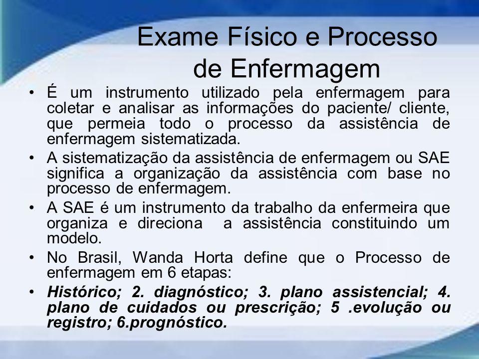 Exame Físico e Processo de Enfermagem É um instrumento utilizado pela enfermagem para coletar e analisar as informações do paciente/ cliente, que permeia todo o processo da assistência de enfermagem sistematizada.