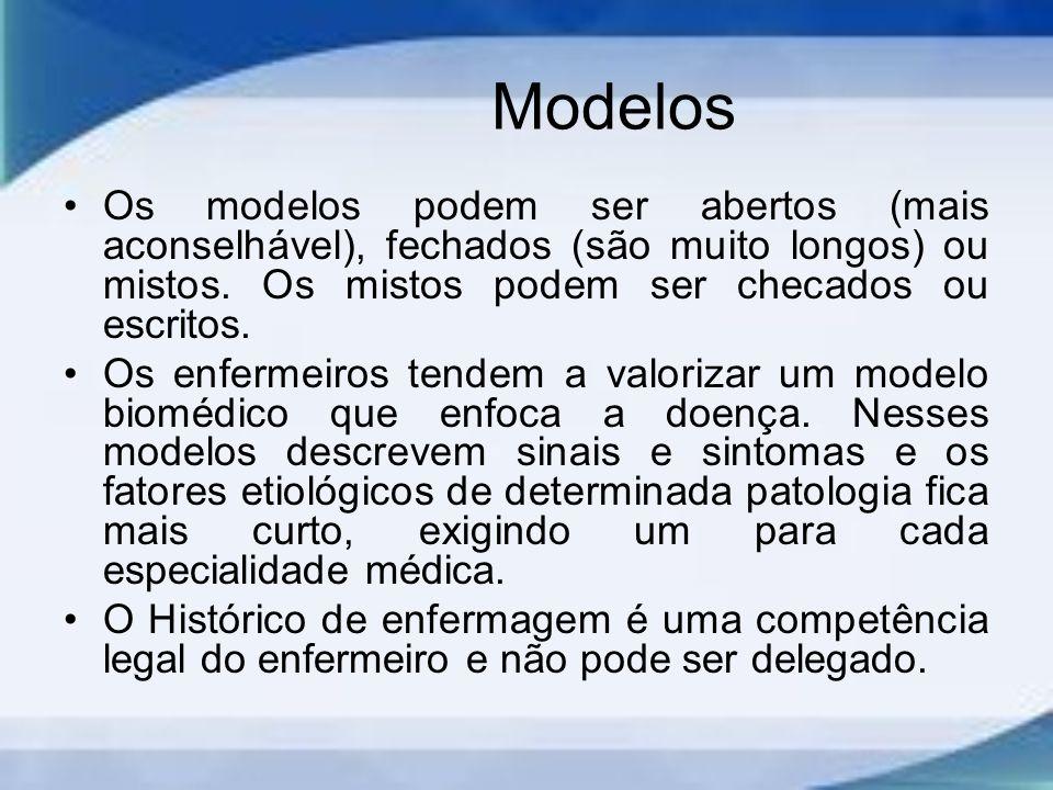 Modelos Os modelos podem ser abertos (mais aconselhável), fechados (são muito longos) ou mistos.