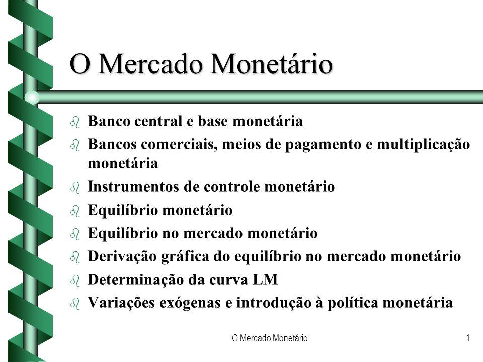 O Mercado Monetário1 b b Banco central e base monetária b b Bancos comerciais, meios de pagamento e multiplicação monetária b b Instrumentos de controle monetário b b Equilíbrio monetário b b Equilíbrio no mercado monetário b b Derivação gráfica do equilíbrio no mercado monetário b b Determinação da curva LM b b Variações exógenas e introdução à política monetária