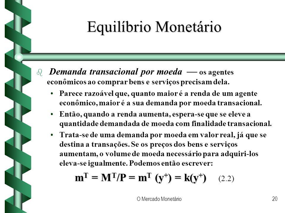 O Mercado Monetário20 Equilíbrio Monetário b b Demanda transacional por moeda os agentes econômicos ao comprar bens e serviços precisam dela.