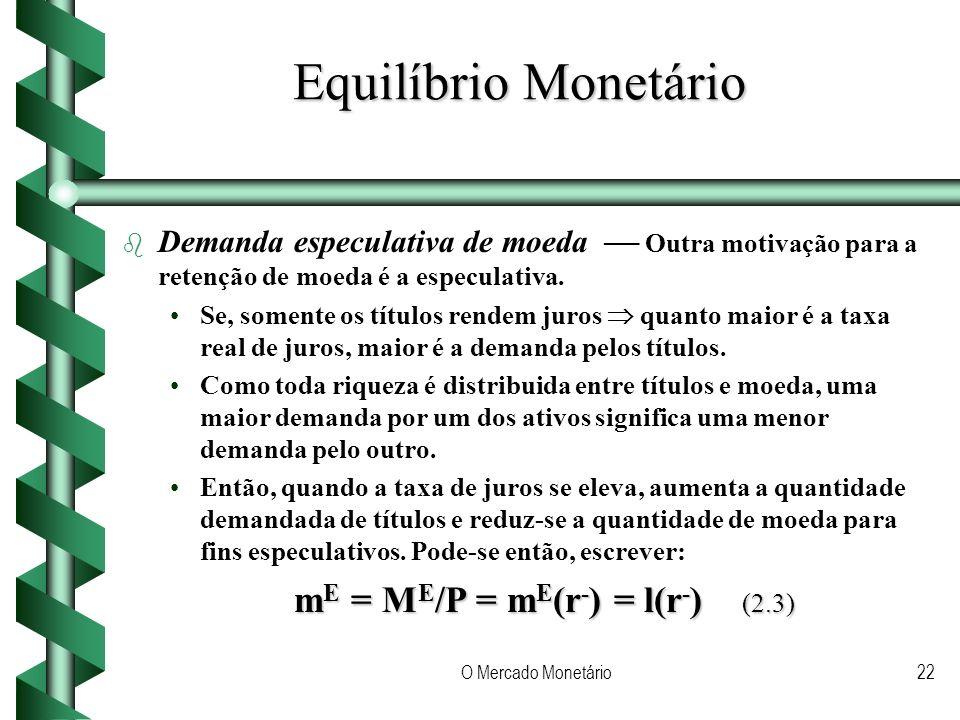 O Mercado Monetário22 Equilíbrio Monetário b b Demanda especulativa de moeda Outra motivação para a retenção de moeda é a especulativa.